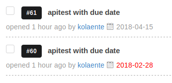 Screenshot of issue due dates in the issue listing